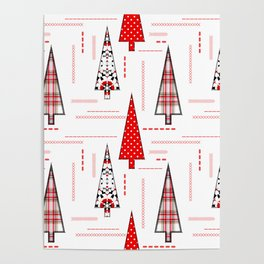 Seamless christmas applique patchwork pattern Poster