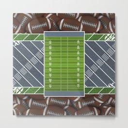 Slate Gray Football Field and Footballs Metal Print