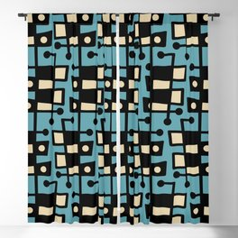 Mid Century Modern Abstract 212 Turquoise Blackout Curtain