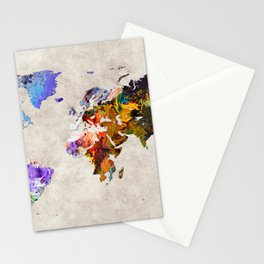 World Map 54 Stationery Cards