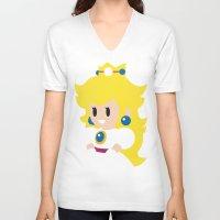 princess peach V-neck T-shirts featuring Princess Peach - Minimalist  by Adrian Mentus