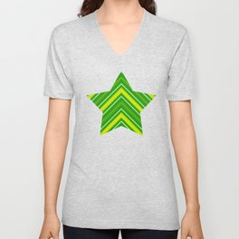 Modern Diagonal Chevron Stripes in Shades of Green and Yellow Unisex V-Neck