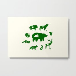 Nature Trail in Forest Green and Cream Metal Print