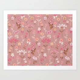 Flower Field Dusty Rose Wildflowers Cottagecore Ditsy Floral Print Art Print