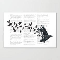 Vintage Style Print with Poem Text Edgar Alan Poe: Edgar Alan Crow Canvas Print