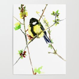 Spring nature colors,Bird art, great Tit, yellow spring bird Poster
