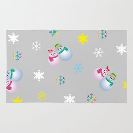 Snowflakes & Pair Snowman_A Rug