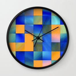 square pattern colorvariation -2- Wall Clock