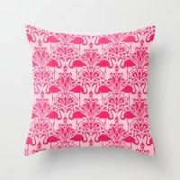 damask Throw Pillows featuring Flamingo Damask by Jacqueline Maldonado
