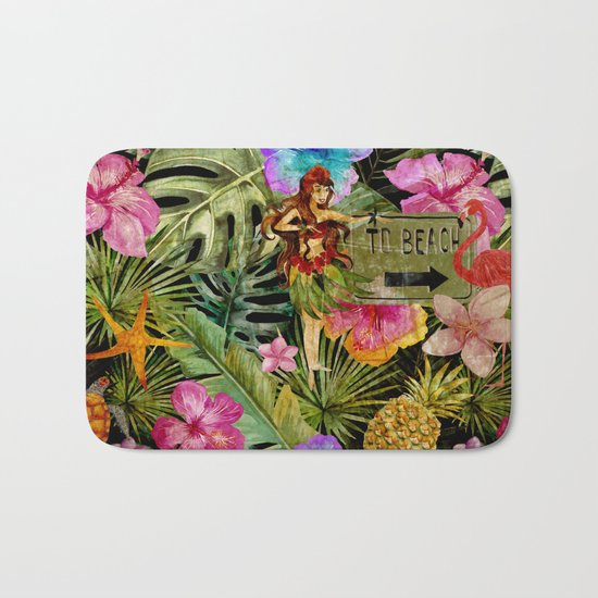 Tropical Vintage Exotic Jungle Beach Party on #Society6 Bath Mat