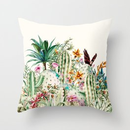 Blooming in the cactus Throw Pillow