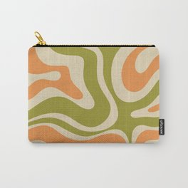 Retro Modern Liquid Swirl Abstract Pattern in Avocado Green, Orange, and Beige Carry-All Pouch