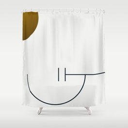 Soir 02 // Abstract Geometry Minimalist Illustration Shower Curtain