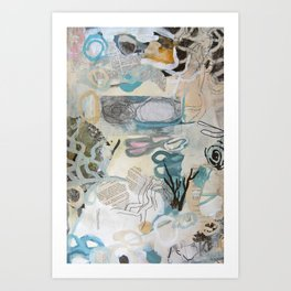 signal lake - mixed media collage in teal, pink, cream, white, and black by Art Print