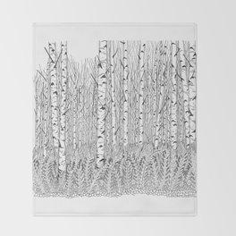 Birch Trees Black and White Illustration Throw Blanket