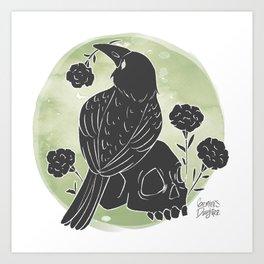 Crow and Skull Art Print