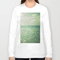 aqua Long Sleeve T-shirts featuring Sea of Happiness by Olivia Joy StClaire