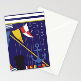 Nautical Maritime Flags Yachting Pattern Stationery Cards