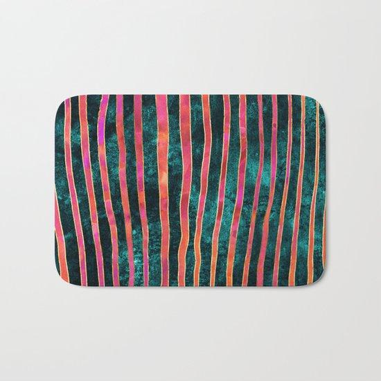 Pattern Play / Stripes on deep turquoise Bath Mat