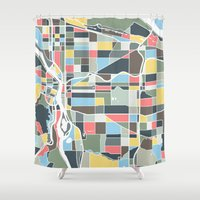 portland Shower Curtains featuring Portland. by Studio Tesouro