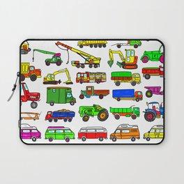 Doodle Trucks Vans and Vehicles Laptop Sleeve