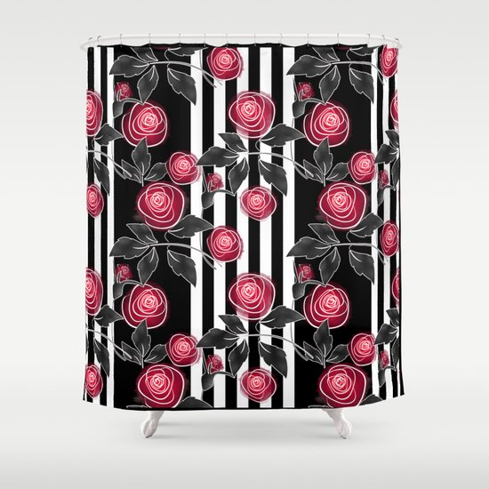 Red Roses On Black And White Striped Background Shower Curtain By Fuzzyfox Society6