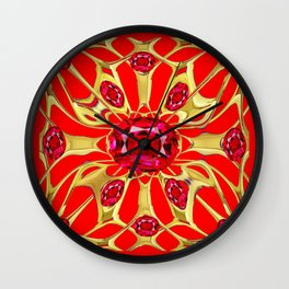 Red Rubies Gold Jewelry July Birthstone Art Wall Clock
