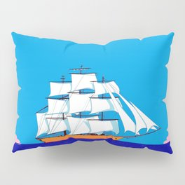 A Clipper Ship at Sunset, Pink clouds and Sun, Nautical Scene Pillow Sham