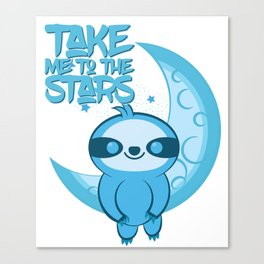 Moon Sloth takes you to the Stars Canvas Print