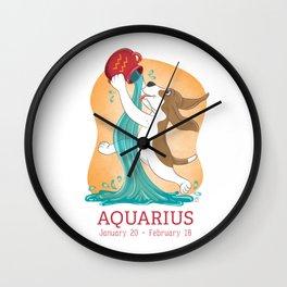 Aquarius Zodiac Basset Hound Wall Clock
