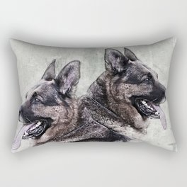German Shepherd Dog - Grunge Digital Art Rectangular Pillow