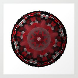 Red Kaleidoscope Mandala Art Print