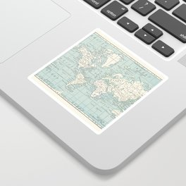 World Map in Blue and Cream Sticker
