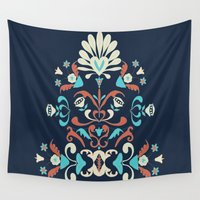 folk Wall Tapestries featuring Folk by Carolina Abarca