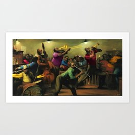 'Jazz on a High Night' African American Harlem Masterpiece by R. Riggs Art Print
