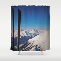 ski Shower Curtains featuring ski by Vi Glory