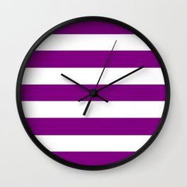 Patriarch - solid color - white stripes pattern Wall Clock