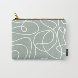 Doodle Line Art | White Lines on Light Gray Green Carry-All Pouch