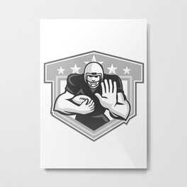 American Football Running Back Fending Grayscale Metal Print