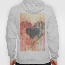 Vintage overlay heart Abstract Hoody
