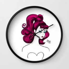 Vintage Fashion Doll Sketch with Pink Hair Wall Clock