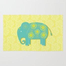 Blue Elephant Yellow Background Rug