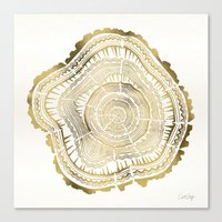 black Canvas Prints featuring Gold Tree Rings by Cat Coquillette