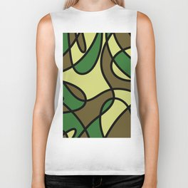 Camo Curves - Abstract, camouflage coloured pattern Biker Tank