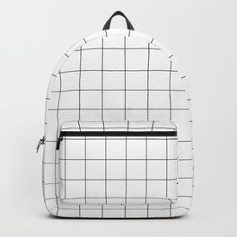 White & Black Grid Pattern Backpack