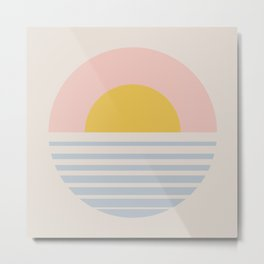 Sunset Gradient Abstract - Soft Pastel Metal Print