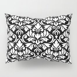 Flourish Damask Big Ptn White on Black Pillow Sham
