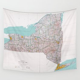 Map of the State of New York (1976) Wall Tapestry