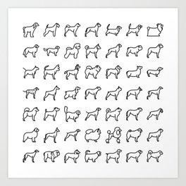 CUTE DOGS / PUPPIES PATTERN Art Print