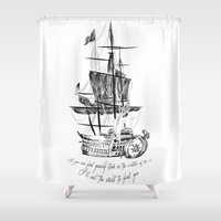 larry Shower Curtains featuring Larry tattooes by Drawpassionn